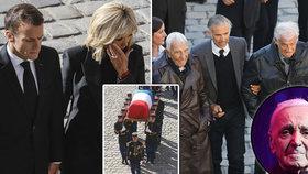 Pohřeb Charlese Aznavoura (†94): Belmonda podpírali, plakala hubená Brigitte Macronová i Peyrac z Angeliky