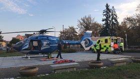 V Nymburce se srazili popeláři a cyklistka. Žena je v kritickém stavu, vrtulník ji musel přepravit do nemocnice v Praze