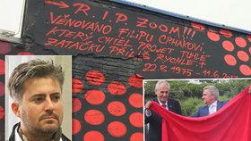Velkolepá vzpomínka na zesnulého člena Ztohoven: Umělec pomaloval stěnu, do které Crhák (†41) narazil
