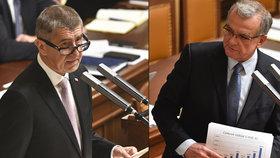 Hádky o rozpočet: Babiš se kasal, Kalouska čílí rozhazování, Fiala šil do komunistů