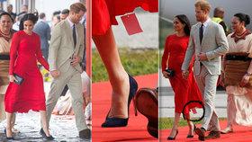 Trapas těhotné Meghan: Na rudých šatech nechala visačku! Kolik stály?