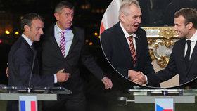 """Zemanovi při setkání s Macronem """"spadla čelist"""". Babiš návštěvu objal kolem zad"""