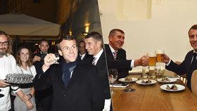 """Babiš s Macronem se v Praze """"rozjeli"""". U večeře nechybělo pivo ani kořalka"""