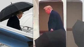Trump zase baví: S otevřeným deštníkem se nevešel do dveří letadla, tak ho odhodil na zem