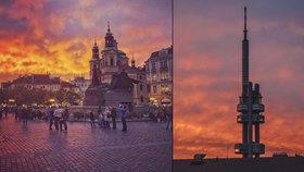 Dechberoucí podívaná! Nebe nad Prahou zalily červánky. Co ohnivý západ slunce způsobilo?