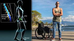 Ochrnutý David se zvedl z vozíku a ujde i kilometr. Díky elektrodám v páteři