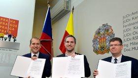VIDEO: Zpečetěno! Nové vedení Prahy podepsalo koaliční smlouvu
