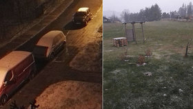 První sníh na řadě míst Česka. A meteorologové varují řidiče před ledovkou