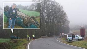 Zakrvácení pasažéři a dýmající auto: Policista Jan zachránil život dvěma mladíkům po nehodě u Strakonic