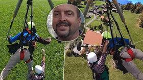 Hororové vteřiny mezi životem a smrtí: Turista visel kilometr nad zemí! Pilot rogala ho nepřipoutal!