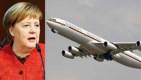 Letadlo s Merkelovou muselo nouzově přistát. Došlo k nebezpečné poruše