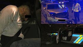 """VIDEO: Zběsilá honička v Praze! Zfetovaný řidič v kradeném autě ujížděl policistům, pak """"smetl"""" jejich vůz"""