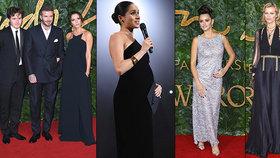 Těhotná Meghan ukradla ceny módy: Herzigová, Beckhamovi i Penélope se Cindy bledli závistí