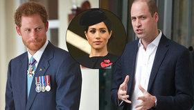 Konec bratrů! Harry s Williamem půlí domácnost i služebnictvo: Může za to Meghan