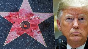 Krev a hákový kříž. Trumpovu hvězdu slávy v Hollywoodu poškodil vandal