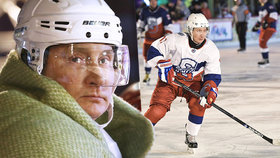 """Putin na bruslích: Ruský prezident a hokejové hvězdy si to """"rozdali"""" na Rudém náměstí"""