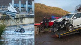 Topícího se řidiče tahali z ledové vody tátové od rodin: Nulová viditelnost, všude unikal olej a benzin, popisují osudové minuty