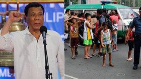 Filipínský prezident chce zatýkat už dvanáctileté děti. Bojuje tím prý proti drogám