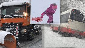 Na Prahu padl sníh: doprava kolabovala, lety měly zpoždění a děti nerušeně sáňkovaly