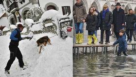 Sníh ochromil celou Evropu, řidiči uvízli v závějích i přes noc. Itálie hlásí i záplavy