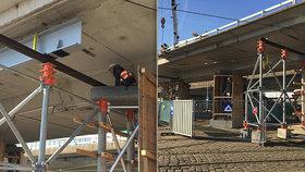 Most u Vltavské dostal finální podpěru. TSK zjistí, jak jsou na tom okolní stavby