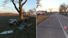 Mladík na Prostějovsku nezvládl řízení. Po nárazu do stromu zemřel