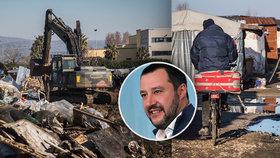 Buldozerem proti migrantům. Italský ministr nechal tábor běženců srovnat se zemí
