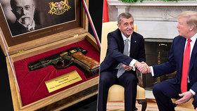 Unikátní pistole k 100. výročí republiky se prodala za 650 tisíc. Stejnou dal Babiš Trumpovi