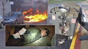 Letňanský žhář dopaden, podpaloval auta i popelnice: Policisté při jeho zadržení stříleli