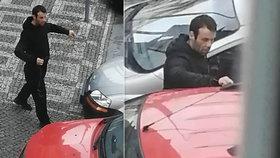 """Šmejde zas*anej!"" Zloděj se do auta na Žižkově dobýval provázkem, majitel ho natočil"