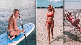 Sexy Langmannová dráždí na pláži: Na Bali vystavuje postavu v bikinách!