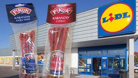 Lidl zase prodával šizené polské salámy. Kabanosy Pikok měly sotva gram hovězího