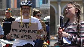 """Aktivistka Greta (16) řečnila o klimatu v Římě. """"Šťávu"""" jí vyjelo 120 cyklistů"""