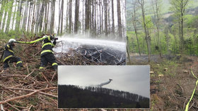 Oheň spolkl kus lesa v Beskydech: Hasiči s ním bojovali půl dne! Nasadili i dvouplošník