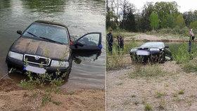 Hasiči lovili auto z rybníka: Řidič (18) ani spolujezdkyně nevysvětlili, jak se tam dostalo