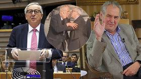 """Zeman: """"Jsme trošku pokrytci."""" Promluvil o polibku od Junckera i """"šílenosti"""" v EU"""