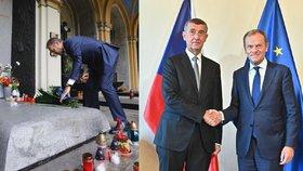 Babiš po schůzce s šéfem EU zmínil migranty a peníze. Tusk šel na hrob Havla