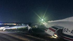 Letadlo nezvládlo přistání a skončilo rozlomené mimo ranvej: 17 zraněných v Barmě