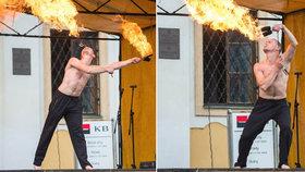 Ohnivá hrůza na majálesu v Poličce: Kejklíř Pavel  začal hořet! Popáleniny na půlce těla