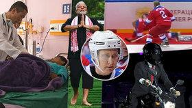 Premiér rád operuje, prezident jezdí rallye. Putin i přes pád na hokeji zvládá vše
