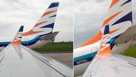 Srážka letadel na pražském letišti: Jeden ze strojů čeká na speciální součástku