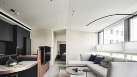 Elegantní domov v Taipeji je plný oblých křivek a růžového zlata