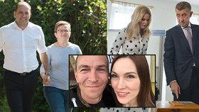 Rodinná pouta u eurovoleb: Babiš s Monikou, selfie Bartošových i Fiala s Janou