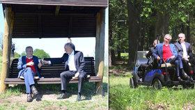 Zeman v golfovém vozíku projel s Kiskou lánskou oboru. Připili si na lavičce