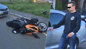 Srazil záchranáře mířícího na směnu a od nehody ujel. Policisté po řidiči pátrají