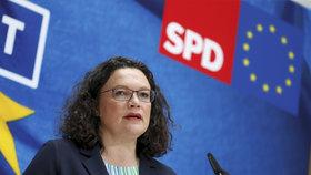 Merkelová přišla o spojence: Šéfka sociálních demokratů po neúspěchu v eurovolbách končí