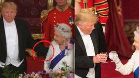 Trumpův megatrapas: Královnu Alžbětu II. plácal po zádech jako kámoše v hospodě!