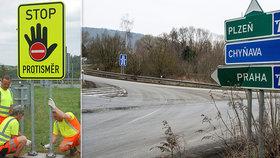 Konec bouraček v protisměru. Šoféry na dálnicích upozorní na špatný směr nová značka