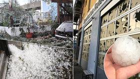 Kroupy jako tenisáky, poničené obchody i auta. Mohutná bouře se přehnala přes Německo
