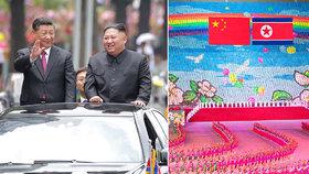 """Obří sláva na počest čínského hosta: Kim a Si Ťin-pching si připili na """"zářnou budoucnost"""""""